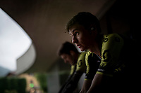 Lucas Hamilton (AUS/Mitchelton-Scott) training on the rollers outside of the team hotel (because of the rain) on the 2nd restday (27 may) of the 102nd Giro d'Italia 2019 <br /> <br /> ©kramon