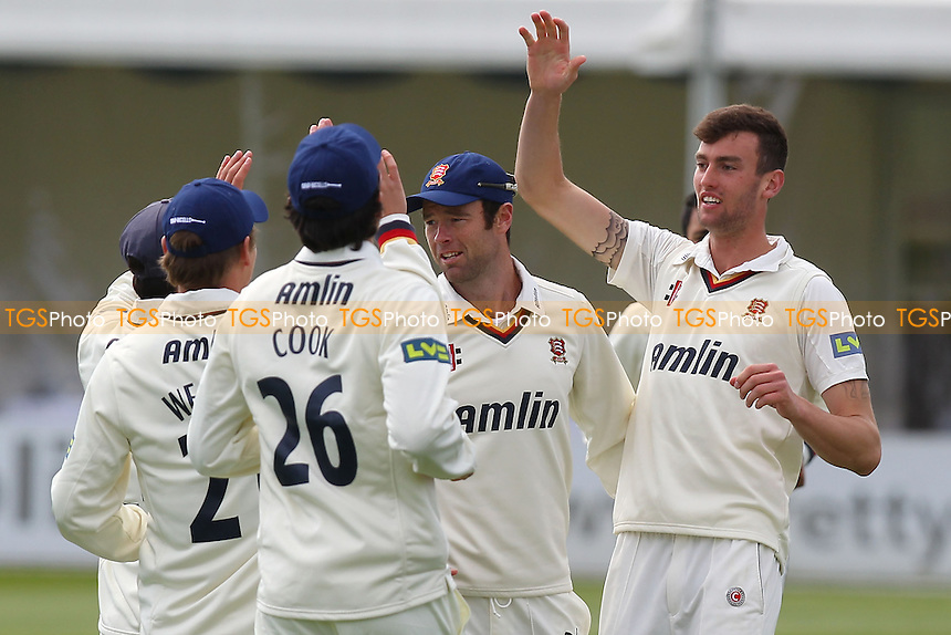 Reece Topley of Essex (R) celebrates the wicket of Michael Carberry - Essex CCC vs Hampshire CCC - LV County Championship Division Two Cricket at the Essex County Ground, Chelmsford - 29/04/13 - MANDATORY CREDIT: Gavin Ellis/TGSPHOTO - Self billing applies where appropriate - 0845 094 6026 - contact@tgsphoto.co.uk - NO UNPAID USE.