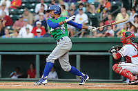 Shortstop Raul Adalberto Mondesi (2) of the Lexington Legends in a game against the Greenville Drive on Monday, July 22, 2013, at Fluor Field at the West End in Greenville, South Carolina. Mondesi is the No. 5 prospect of the Kansas City Royals. Lexington won, 7-3. (Tom Priddy/Four Seam Images)