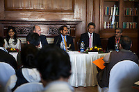 (L-R) Pallavi Sharda (OzFest ambassador), Dr. Lachlan Strahan (Australian Deputy High Commissioner to India), Maharaj Narendra Singh (Maharaj of Jaipur), Nik Senapati (Rio Tinto Managing Director), and Yunus Khimani (of the Jaipur Palace) sit together as Nik Senapati speaks to the media during a press conference on Oz Fest in Raj Mahal Palace hotel, Jaipur, India on 10th January 2013. Photo by Suzanne Lee/DFAT