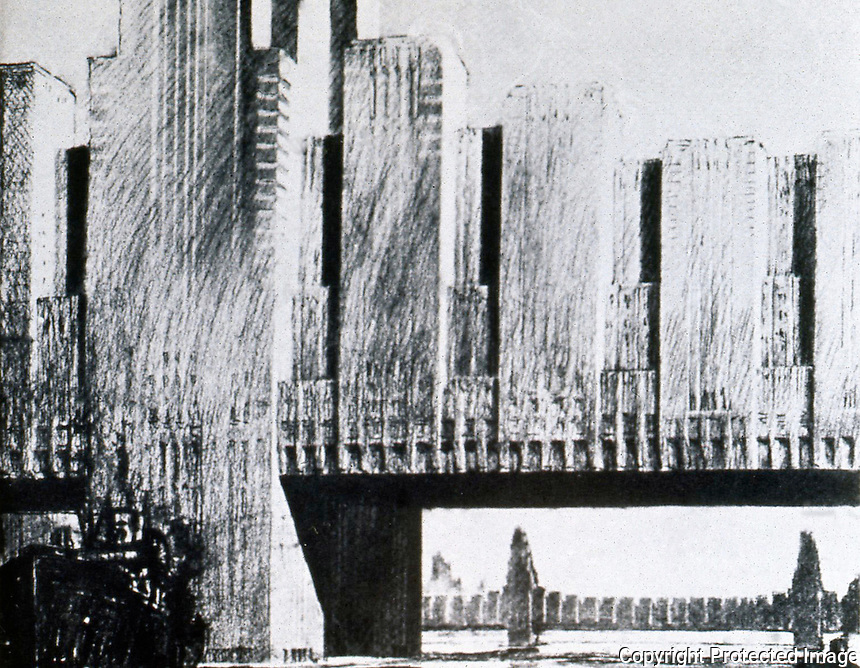 Raymond Hood:  Manhattan Bridge with Apartments--1929.  Photo '77.