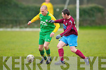Camp United's Kenneth Qurike gets away from Spa Road's Adrain Horan at Mounthawk park, Tralee on Sunday.
