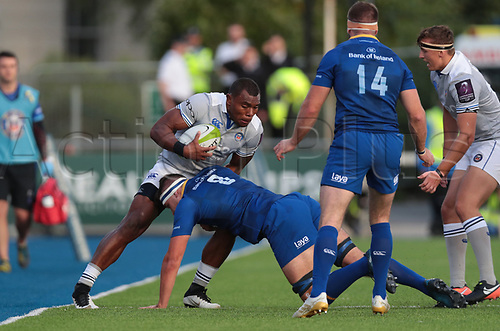 25th August 2017, Donnybrook Stadium, Dublin, Ireland; Pre Season Rugby Friendly; Leinster Rugby versus Bath Rugby; Semesa Rokoduguni (Bath) tackled by Max Deegan (Leinster)