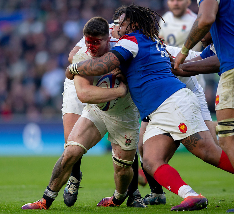 England's Tom Curry is tackled by France's Mathieu Bastareaud<br /> <br /> Photographer Bob Bradford/CameraSport<br /> <br /> Guinness Six Nations Championship - England v France - Sunday 10th February 2019 - Twickenham Stadium - London<br /> <br /> World Copyright &copy; 2019 CameraSport. All rights reserved. 43 Linden Ave. Countesthorpe. Leicester. England. LE8 5PG - Tel: +44 (0) 116 277 4147 - admin@camerasport.com - www.camerasport.com