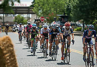 NWA Democrat-Gazette/BEN GOFF @NWABENGOFF<br /> Cyclists compete in the men's category 4 race Saturday, July 7, 2018, during The Natural State Criterium Series in downtown Rogers. The third annual series produced by BikeNWA began with races in downtown Bentonville Friday evening. The series concludes Sunday in downtown Springdale with the first event starting at 8:50 a.m. and the final event starting at 4:00 p.m. A criterium is a type of bicycle race where riders lap a short, closed circuit on downtown city streets.