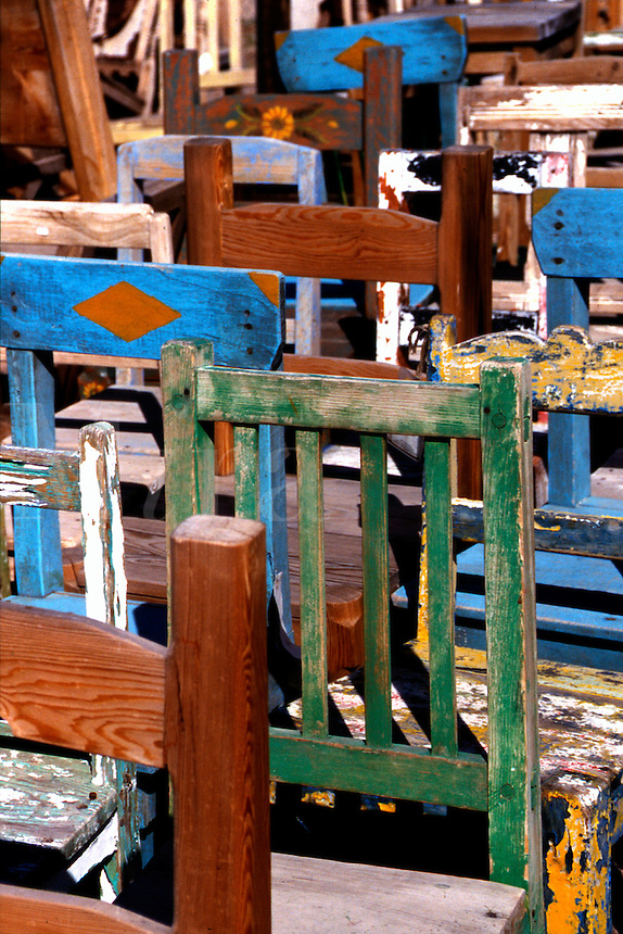 Paint peeling off old Spanish chairs, Santa Fe, New Mexico