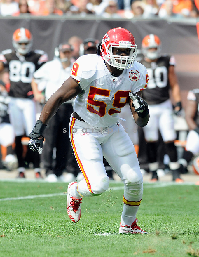 JOVAN BELCHER, of the Kansas City Chiefs, in action during the Chiefs game against the Cleveland Browns on September 19, 2010 in Cleveland, Ohio...Chiefs win 16-14..SportPics