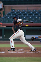 AZL Giants Black center fielder Randy Norris (1) follows through on his swing during an Arizona League game against the AZL Royals at Scottsdale Stadium on August 7, 2018 in Scottsdale, Arizona. The AZL Giants Black defeated the AZL Royals by a score of 2-1. (Zachary Lucy/Four Seam Images)