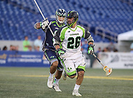 Annapolis, MD - July 7, 2018: New York Lizards Thomas Kelly (26) runs with the ball during the game between New York Lizards and Chesapeake Bayhawks at Navy-Marine Corps Memorial Stadium in Annapolis, MD.   (Photo by Elliott Brown/Media Images International)