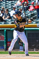 Todd Cunningham (9) of the Salt Lake Bees at bat against the El Paso Chihuahuas in Pacific Coast League action at Smith's Ballpark on April 24, 2016 in Salt Lake City, Utah. This was Game 1 of a double-header.  El Paso defeated Salt Lake 7-0. (Stephen Smith/Four Seam Images)