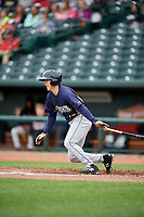 Burlington Bees designated hitter Jordan Zimmerman (12) follows through on a swing during a game against the Great Lakes Loons on May 4, 2017 at Dow Diamond in Midland, Michigan.  Great Lakes defeated Burlington 2-1.  (Mike Janes/Four Seam Images)