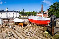 Finland, Helsinki. Dry dock on Suomenlinna.