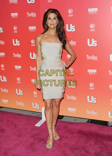 "SAMANTHA HARRIS .at The 2009 US Weekly Annual ""Hot Hollywood"" Party held at My House in Hollywood, California, USA,.April 22nd 2009.                                                                     .full length strapless grey gray dress Herve Leger yellow silver sandals ankle strap .CAP/DVS.©Debbie VanStory/RockinExposures/Capital Pictures"