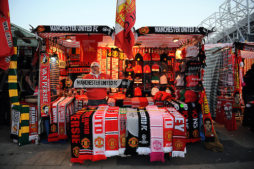 05.03.2013. Manchester, England.  Manchester United Souvenir Stall outside the Old Trafford Stadium before the UEFA Champions League second leg, last 16 game between Manchester United and Real Madrid. Real madrid won the tie 1-2 and went through to the quarter finals by a score of 3-2.