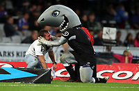 DURBAN, SOUTH AFRICA - MAY 27: A fan gets onto the pitch and tackles sharky  during the Super Rugby match between Cell C Sharks and DHL Stormers at Growthpoint Kings Park on May 27, 2017 in Durban, South Africa. Photo by Steve Haag / stevehaagsports.com