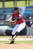 Hickory Crawdads relief pitcher Grant Anderson (16) in action against the Charleston RiverDogs at L.P. Frans Stadium on May 13, 2019 in Hickory, North Carolina. The Crawdads defeated the RiverDogs 7-5. (Brian Westerholt/Four Seam Images)