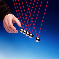 NEWTON TOY PENDULA: COLLISION EXPERIMENT<br /> Newton's Third Law Conservation of Momentum<br /> One pendula bob used as a projectile collides with four other pendula bobs displacing one pendula bob equal to the original displacement of the projectile bob.