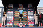 Giovanni Visconti (ITA) Neri Sottoli Selle Italia KTM was honoured on the podium for taking the award for the individual classification in the Ciclismo Cup at the end of the 103rd edition of GranPiemonte 2019 running 183km from Aglie to Santuario di Oropa (Biella), Italy. 10th Octobre 2019. <br /> Picture: Fabio Ferrari/LaPresse | Cyclefile<br /> <br /> All photos usage must carry mandatory copyright credit (© Cyclefile | LaPresse/Fabio Ferrari)