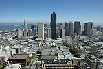 The San Francisco city skyline taken a top of the Mark Hopkins on Nob Hill looking east.
