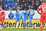 Torjubel nach dem 1:0 v.l. der Torschuetze Hoffenheims Andrej Kramaric (Nr.27), Hoffenheims Nico Schulz (Nr.16) und Hoffenheims Joelinton (Nr.34)  beim Spiel in der Fussball Bundesliga, TSG 1899 Hoffenheim - Fortuna Duesseldorf.<br /> <br /> Foto © PIX-Sportfotos *** Foto ist honorarpflichtig! *** Auf Anfrage in hoeherer Qualitaet/Aufloesung. Belegexemplar erbeten. Veroeffentlichung ausschliesslich fuer journalistisch-publizistische Zwecke. For editorial use only. DFL regulations prohibit any use of photographs as image sequences and/or quasi-video.