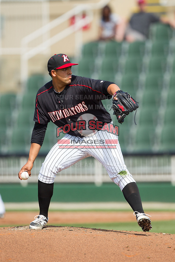 Kannapolis Intimidators starting pitcher Jake Sanchez (33) in action against the Hagerstown Suns at CMC-Northeast Stadium on June 1, 2014 in Kannapolis, North Carolina.  The Intimidators defeated the Suns 5-1 in game one of a double-header.  (Brian Westerholt/Four Seam Images)