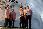 Luke Donald holds The Ryder Cup aloft during the closing ceremony of the 2006 Ryder Cup at The K Club..Photo: Eoin Clarke/Newsfile.