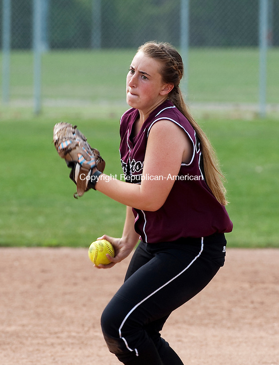 NUAGATUCK, CT--052615JS07-Torrington's Ali DuBois (22) delivers a pitch during their NVL softball semi-final game against Seymour Tuesday at Naugatuck High School. <br /> Jim Shannon Republican-American