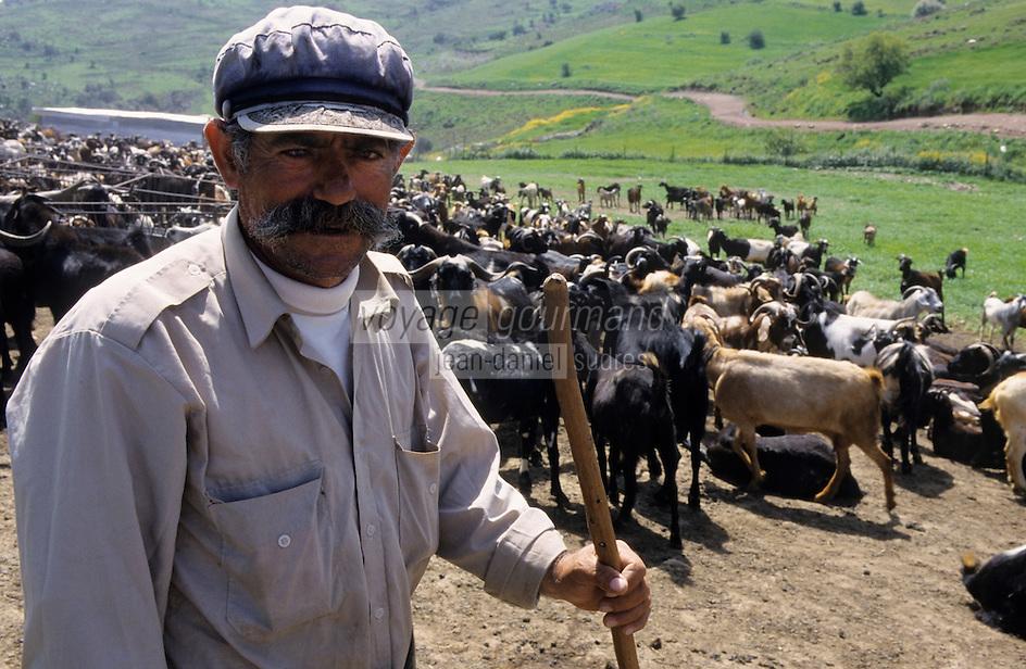 """Asie/Europe/Chypre/Drousheia : Andrea le berger surnommé """"Moustaka"""" et son troupeau de chèvres"""