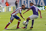 Atletico de Madrid´s Juanfran (L) and Espanyol´s Salva during 2014-15 La Liga Atletico de Madrid V Espanyol match at Vicente Calderon stadium in Madrid, Spain. October 19, 2014. (ALTERPHOTOS/Victor Blanco)
