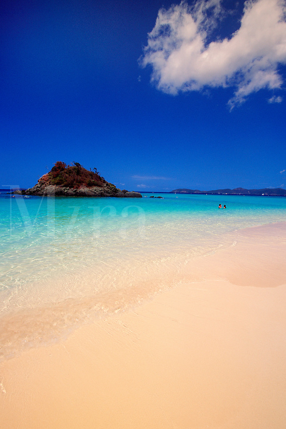 The US Virgin Islands known for their clear water and white sand beaches. They are a popular tourist destination in the Caribbean. St. John Island