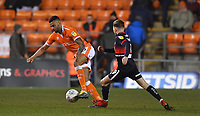 Blackpool's Curtis Tilt battles with Doncaster Rovers' Alfie May<br /> <br /> Photographer Dave Howarth/CameraSport<br /> <br /> The EFL Sky Bet League One - Blackpool v Doncaster Rovers - Tuesday 12th March 2019 - Bloomfield Road - Blackpool<br /> <br /> World Copyright © 2019 CameraSport. All rights reserved. 43 Linden Ave. Countesthorpe. Leicester. England. LE8 5PG - Tel: +44 (0) 116 277 4147 - admin@camerasport.com - www.camerasport.com