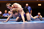 CLEVELAND, OH - MARCH 10: Kyle Fank, of Wartburg, top, wrestles Guy Patron, of Loras, in the 197 weight class during the Division III Men's Wrestling Championship held at the Cleveland Public Auditorium on March 10, 2018 in Cleveland, Ohio. (Photo by Jay LaPrete/NCAA Photos via Getty Images)