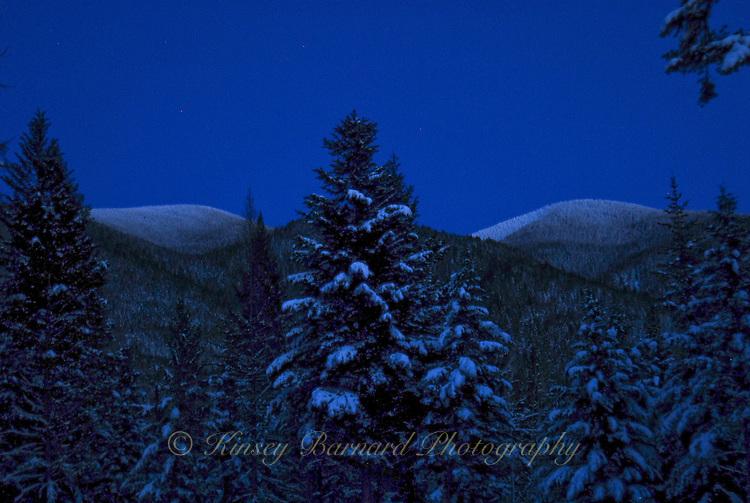Dark and cold the winter sun has set on the Kootenai National Forest's Galton Range.