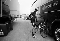 Liège-Bastogne-Liège 2013..Kanstantsin Siutsou (BLR) arriving at the teambus after a hard days work.