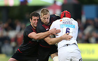 James Haskell of Wasps is tackled by Saracens pair Dominic Day and Calum Clark<br /> <br /> Photographer Rob Newell/CameraSport<br /> <br /> Aviva Premiership - Saracens v Wasps - Sunday 8th October 2017 - Allianz Park - Hendon<br /> <br /> World Copyright &copy; 2017 CameraSport. All rights reserved. 43 Linden Ave. Countesthorpe. Leicester. England. LE8 5PG - Tel: +44 (0) 116 277 4147 - admin@camerasport.com - www.camerasport.com