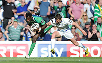 28/05/2016;Guinness Pro12 Final<br /> Connacht&rsquo;s Niyi Adeolokun with Eoin Reddan of Leinser.<br /> Photo Credit: actionshots.ie/Tommy Grealy