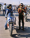 Sadao Asami stands ready for the start of the 350cc race in Jarama (Spain), 1979. Asami came 6th.