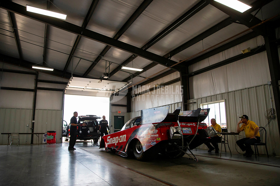 May 19, 2018; Topeka, KS, USA; The car of NHRA funny car driver Cruz Pedregon is weighed at the tech inspection station during qualifying for the Heartland Nationals at Heartland Motorsports Park. Mandatory Credit: Mark J. Rebilas-USA TODAY Sports