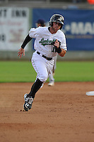 Clinton LumberKings Logan Taylor (14) runs during the Midwest League game against the Beloit Snappers at Ashford University Field on June 11, 2016 in Clinton, Iowa.  The LumberKings won 7-6.  (Dennis Hubbard/Four Seam Images)
