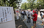 August 15, 2020, Tokyo, Japan - People keep social distances as they visit the controversial Yasukuni shrine to honor war victims in Tokyo on Saturday, August 15, 2020 amid outbreak of the new coronavirus. Japan marked the 75th anniversary of its surrender of World War II.        (Photo by Yoshio Tsunoda/AFLO)