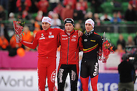 SCHAATSEN: HAMAR: Vikingskipet, 17-02-2013, Essent ISU WK allround, Season 2012-2013, Day 2, podium 1500m Men, Zbigniew Brodka (POL), Håvard Bøkko (NOR), Bart Swings (BEL), ©foto Martin de Jong