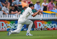 Kyle Jamieson catches Mayank Agarwal during the International Test Cricket match between the New Zealand Black Caps and India at the Basin Reserve in Wellington, New Zealand on Friday, 21 February 2020. Photo: Dave Lintott / lintottphoto.co.nz