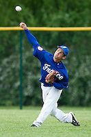 29 April 2009: Yohan Bret takes outfield practice during the first of six 2009 MLB European Academy Try-out Sessions throughout Europe, at Stade Pierre Rolland, in Rouen, France. Try-out sessions are run by members of the Major League Baseball Scouting Bureau with assistance from MLBI staff.