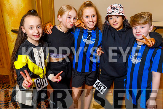 Zoe Coakley, Ally Ryan, Nicole Arefjeba, Briannah Arigan and Timmy Kerins attending the Irish Hip Hop Masters Dance Championships 2020 in the Brandon Hotel on Friday.