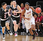 SIOUX FALLS, SD - MARCH 6:  Danielle Lawrence #14 of IUPUI breaks away from defenders Amber Vidal #5 and Remy Davenport #33 of Omaha in the 2016 Summit League Tournament. (Photo by Dick Carlson/Inertia)