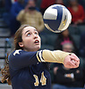 Shannon Carey #14 of Bayport-Blue Point makes a set during her team's 3-1 win over Wheatley in the girls volleyball Class B Long Island Championship at Farmingdale State College on Sunday, Nov. 11, 2018.
