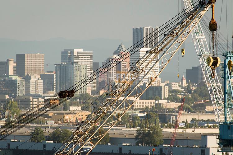 Cranes at Swan Island ship repair in Portland, OR.