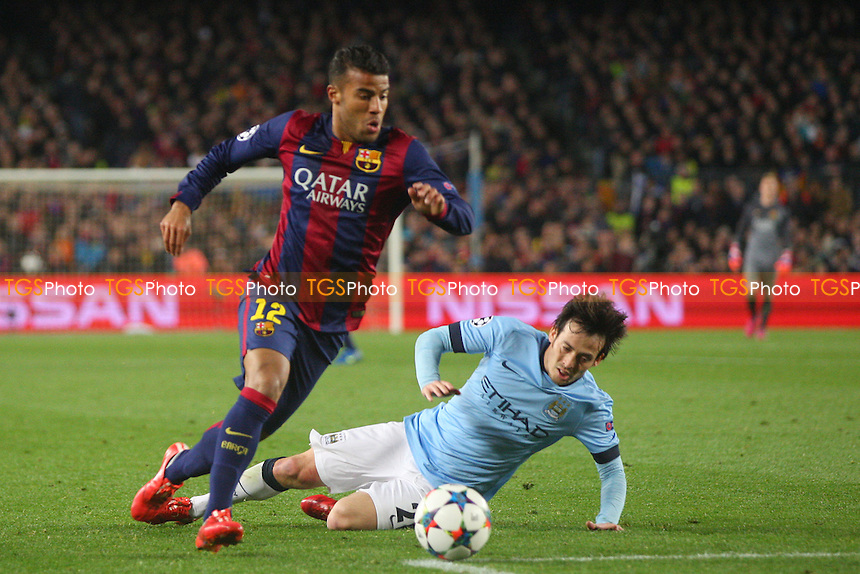 Rafinha of FC Barcelona goes past David Silva of Manchester City - FC Barcelona vs Manchester City - European Champions League Round of Sixteen Football at the Camp Nou Stadium on  18/03/15 - MANDATORY CREDIT: Dave Simpson/TGSPHOTO - Self billing applies where appropriate - 0845 094 6026 - contact@tgsphoto.co.uk - NO UNPAID USE