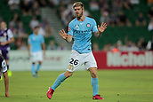 9th January 2018, nib Stadium, Perth, Australia; A League football, Perth Glory versus Melbourne City; Luke Brattan Melbourne City midfielder apologies to referee for a heavy tackle on Jacob Italiano of the Perth Glory
