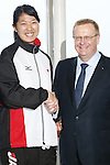 (L-R)<br />  Haruna Sakakibara,<br /> John Coates IOC Vice President,<br /> APRIL 3, 2014 : IOC committee members inspected the athletes village, Koji Murofushi director, Yoichi Masuzoe Tokyo governor  and U23 Rowing national team's member was welcomed at Harumi Port Terminal in Tokyo, Japan. (Photo by AFLO SPORT) [1195]